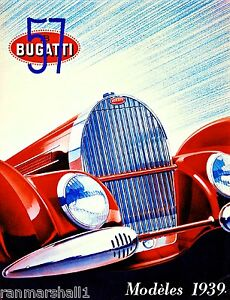 1939 Bugatti French France Automobile Car Vintage Advertisement Art Poster Print