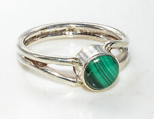 Sterling Silver Traditional Asian Vintage Style Malachite Ring Size M 1/2 Gift