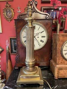 Vintage Brass Corinthian Column Stepped Base Lamp