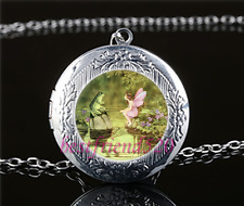 Fairy and Frog Photo Cabochon Glass Tibet Silver Locket Pendant Necklace