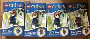 4 x LEGO Legends of Chima Lion and Wolf LED Lite Light Keyring Torch - Brand New