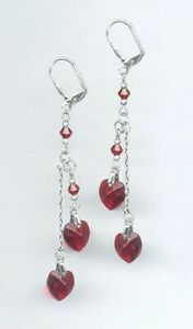 Romantic Silver Earrings with Double Swarovski SIAM RUBY RED Crystal Hearts