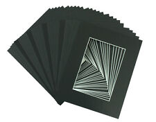 Pack of 25, 5x7 Black Picture Mats with White Core for 4x6 Pictures