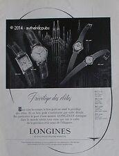 PUBLICITE LONGINES MONTRE PRIVILEGE DES ELITES CATHEDRALE DE 1951 FRENCH AD PUB