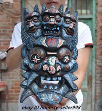 """15"""" Rare Tibet Temple Wood Carved Wrathful Mahakala Buddha Exorcism Mask Statue"""