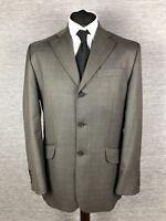 Next Mens Pure Wool Blazer Jacket Size 40R Regular Fit Grey Brown Check Khaki