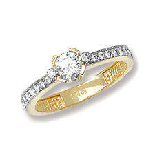 Unbranded Solitaire with Accents Yellow Gold Fine Rings