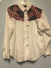 Rhymes Size Small Blouse Button Down American Flag Western Design