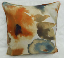 "Harlequin Fabric Cushion Cover 'FLORES' Rust/Ruby/Nordic Blue - 20"" - Linen Mix"