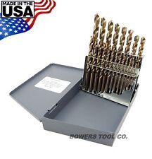 Norseman 21pc COBALT M42 Drill Bit Set Jobber Lengths 1/16-3/8 MADE IN USA D-21