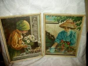 VINTAGE PAINT BY NUMBERS LADIES FLOWERS PAINTINGS PBN CHIPPY FRENCH FARMHOUSE