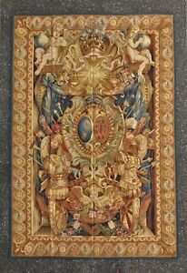 Aubusson Tapestry Louis XIV Armorial Coat of Arms Wool Wall Hanging Rug 6'x9'