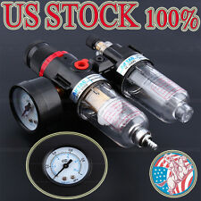 US Air Compressor Filter Moisture Water Oil Separator Trap Tools Regulator Gauge