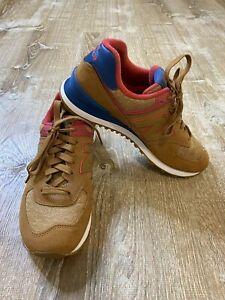 New Balance 574 Running Walking Shoes Men's Sz 8 Brown Blue Red CLEAN EUC