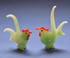 Murano ? Miniature Hand Blown Art Glass Cockerel / Chicken Bird x 2