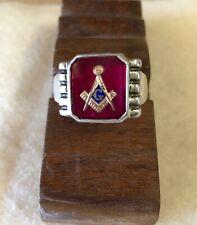 rings mens masonic mason red stone gold emblem fraternal sterling silver