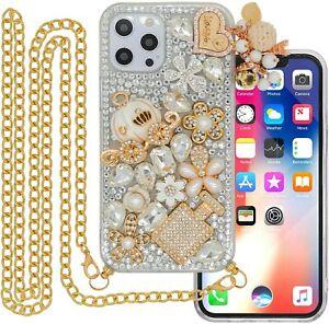 Girly Bling Rhinestones Sparkly Diamonds Soft Phone Cases With Crossbody Lanyard
