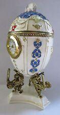 wunderschöne Spieluhr im Stil eines Faberge Ei mit echter Uhr, Elefant + Ständer