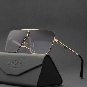 Designer Oversized Square Aviators Sunglasses Pilot Metal Bar Mens Fashion Shade