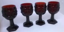 Avon Collectible Decorative Cape Cod Set Of 4 Wine Goblets Ruby Red Glass 4.5""