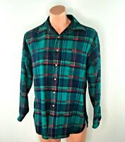 Vtg 70s 80s Pendleton Plaid Flannel Wool Board Shirt Aqua Galloway Tartan sz L