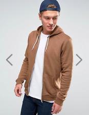 New Look Men's Zip Through Hoodie In Camel Size Large