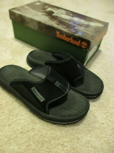 Men's Timberland Size 10 Black Leather Slides NWB Factory Second