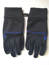 POLO Ralph Lauren Gloves Medium Polyester/Nylon Black Blue Pony Touch Screen Men