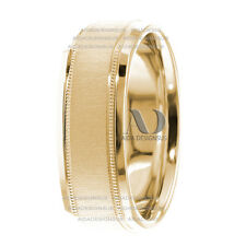 5mm Wide 14K Yellow Gold Square Shape with milgrain Wedding Band