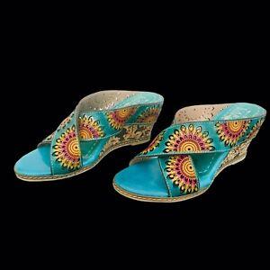 L'Artiste Spring Step Enticing Slide Turquoise Leather Sandals 36/5.5-6