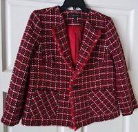 Women's Talbots Twill Check Jacket Red White Black SIZE 8 RETAIL $179