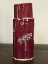 Ceramic Pottery Artist Alice DeLisle Contemporary Red Vase Signed Art Piece RARE