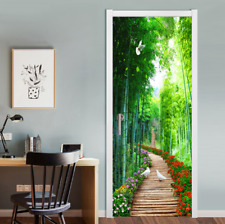 3D Spring Flowers Forest Self-adhesive Living Room Door Sticker Wall Mural Decal