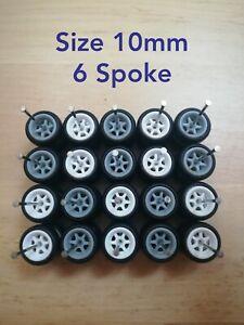 Custom Wheels HOT WHEELS RUBBER WHEELS TIRES 10 SETS 1/64 SIZE 10mm White/Grey