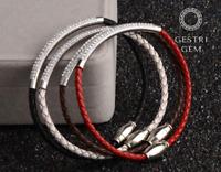 Armband aus Kristall Strass Steinen für Damen Schmuck Leder Edelstahl