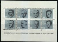 Germany 1964 MNH Mi Block 3 Sc 883-890 sheet of 8 German resistance to the Nazis
