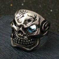 Men's Huge Gothic Skull Lake Blue CZ Eye Cigar Stainless Steel Biker Ring Silver