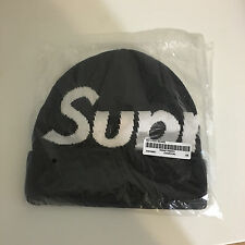 Supreme Big Logo Beanie Charcoal OS 2015 FW New Era Hat Box Logo S logo Camp Cap