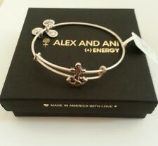 NWT BOX & CARD ALEX and ANI Russian Silver ANCHOR SLIDER CHARM Bangle BRACELET