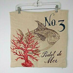 "POTTERY BARN Poulet de Mer No. 3 Linen Pillow Covers 18"" x 18"" Fish SEA LIFE 🐠"