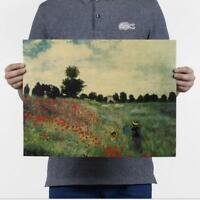 2019Monet - wild poppy / nostalgic retro oil painting / kraft paper poster