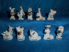 WINNIE POOH Set 10 WHITE & GOLD Figurines French Porcelain FEVES Figures DISNEY