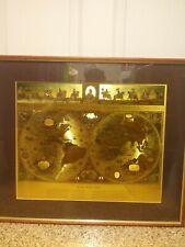 VINTAGE William Janszon Blaeu Wall Map Gold Metallic Foil Print Matted Framed