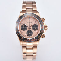 40mm PARNIS Men's Watch Full Chronograph Sapphire Crystal Rose gold dial glowing