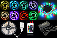 10/5M SMD 5050/3528 RGB 300/600 LED Strip Adapter IR Remote Waterproof Kit Xmas