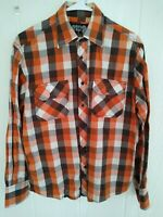 Eighty Eight Men's Orange Brown Plaid Long Sleeve Button Front Shirt Sz Small S