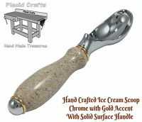 Solid Surface Handle Ice Cream Scoop / Chrome with Gold Accents #ICS111