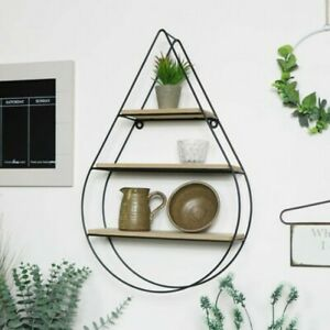 Tear Drop Wire & Wood Shelf home decor wall storage quirky shelving office