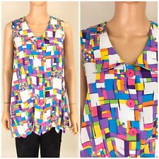 Vintage 80s 90s Sleeveless Swing Top Abstract Geometric Multi Color Goldbergs M