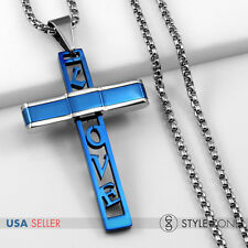 HOT Unisex Stainless Steel Blue Love Letter Cross Pendant Smooth Box Necklace 1D